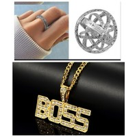 Used BOSS hiphop cool necklace+universal ring in Dubai, UAE