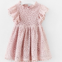 Used Pompom tassel lace pink dress 12-18M in Dubai, UAE
