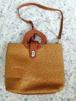 Leather bag with cute handle and strap