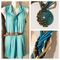 Used Jumpsuit 2XL+ peacock glass bead chain in Dubai, UAE