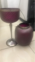 Used Set of candle holder n purple color  in Dubai, UAE