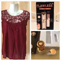 Top dark red size S & Flawless facial re