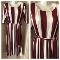 Used Woman fashion stripped high waist elbow sleeve maxi dress in Dubai, UAE