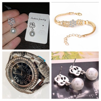 Used Pearl drop Earrings+bracelet+watch  in Dubai, UAE