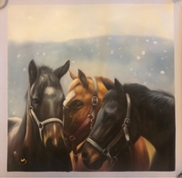 Used Horses in snow handmade painting  in Dubai, UAE