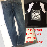 Used Posh jeans +5T-shirt 15-16yrs  in Dubai, UAE