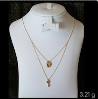 Two Layer Necklace 18k Gold, Italian