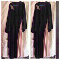 Used Black/Beige long Abaya/dress L/XL+Shaila in Dubai, UAE