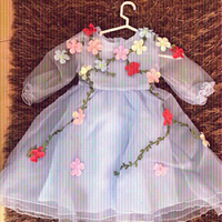 Sky blue organza dress with flowers