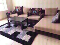 Used L shaped Sofa 5 seater with a Rug. in Dubai, UAE