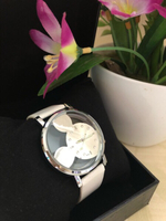 Used Leather Mickey Mouse Watch🌈White🌈New in Dubai, UAE