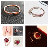 Used Ring Rose gold 10+ring zircon+nail cuff in Dubai, UAE