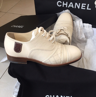 Original Beige Chanel Shoes Used Once With Box Dust Bag And Paper Bag