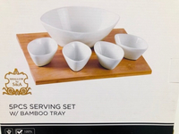 Used Ceramic serving bowls set w/bamboo tray  in Dubai, UAE