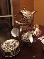 Used Gold plated tea pot cups saucer 12 items in Dubai, UAE