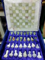 Onyx Marble Chess Set in Velvet box
