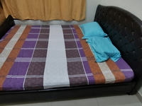 Used Large Leather King Size Bed and Mattress in Dubai, UAE