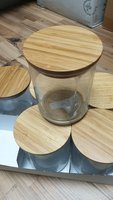 set of 6 glass contaniers with woodcover
