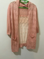 Beautiful Peach colored shimmery shrug.