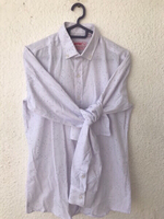 Used Gents Formal white Shirt with dots (New) in Dubai, UAE