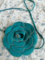 Cute hanging flower bag, blue leather