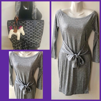 Used Gray Longsleeves Mini Dress & Small Bag in Dubai, UAE