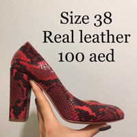 Used Leather Black Red Snake Heels in Dubai, UAE