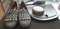 Used Grey suede flat shoe with matching bag in Dubai, UAE