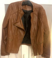 Used Brown Faux Leather Jacket in Dubai, UAE