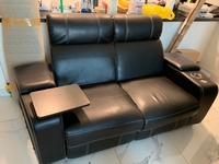 Used 2 seater Reclining black leather couch in Dubai, UAE