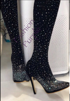 Used Fully Beadeds Black High Heeled Boots/40 in Dubai, UAE