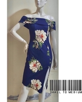 Used blue floral offshoulder dress-medium in Dubai, UAE