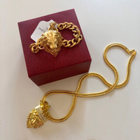Used Men's Gold Plated Lion Jewelry Set// in Dubai, UAE