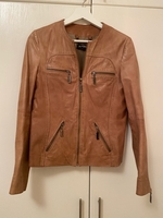 Used 100% goat leather brown jacket size M in Dubai, UAE