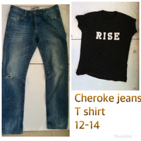 Used Jeans + T-shirt free13-14 yrs in Dubai, UAE