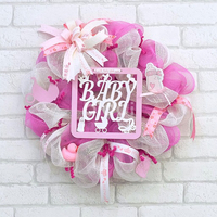 Baby girl decorative wreath. Handmade