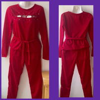 Used Red Set Of Blouse & Pants/ Small in Dubai, UAE