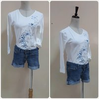 Used White longsleeve with denim short.. in Dubai, UAE