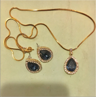 Gold-Plated Necklace & Earrings Set With Gem.