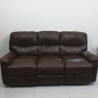 Used Recliner sofa 3 seater (brown leather ) in Dubai, UAE