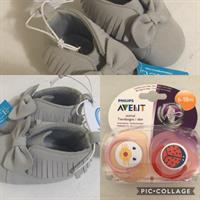 Brand New Baby Pacifier + Cute Booties.