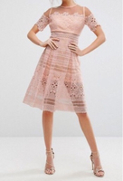 Used Pink lace dress, never worn, with tags in Dubai, UAE