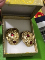 Used Huge gold plated earing with ruby stone in Dubai, UAE