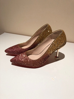Woman high heels Golden Pumps UK 5