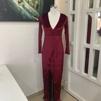 Used Wine Red Velvet Wrap Slit Dress L NEW in Dubai, UAE