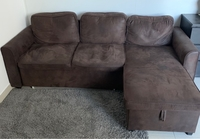 Used Brown l shape sofa-bed with storage  in Dubai, UAE