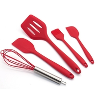 Used Silicone Utensil sets 5 pieces, red in Dubai, UAE