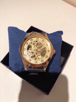 Used Gold face black leather strap automatic mens watch in Dubai, UAE