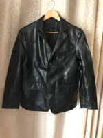 Used Pu leather jacket black size L in Dubai, UAE