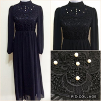 Used Long Dress With Pearls Detail Bodice- Black. in Dubai, UAE